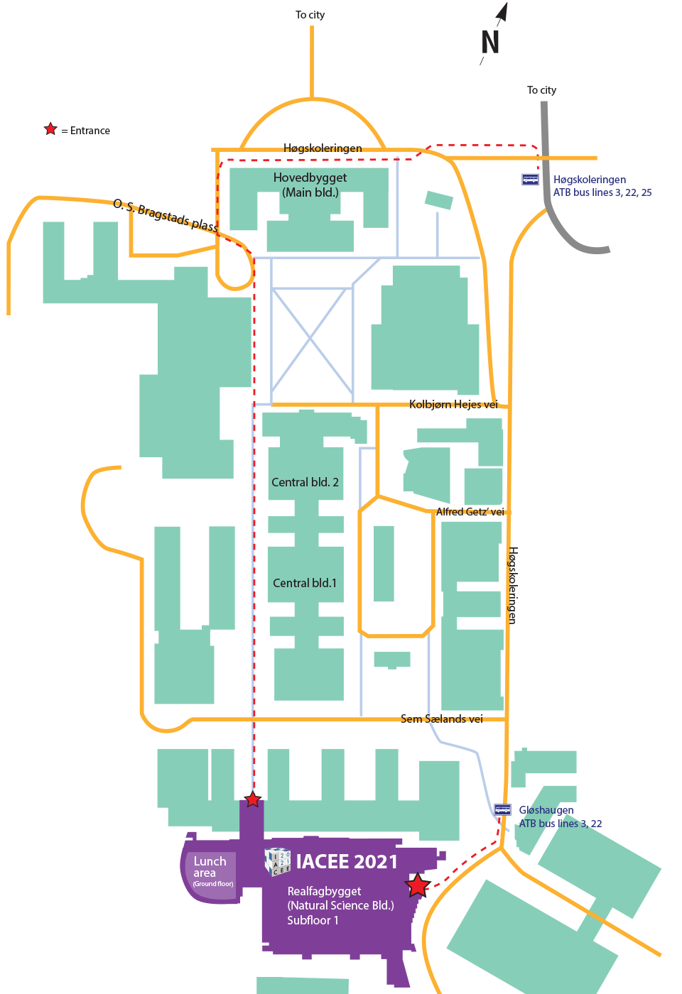 Map showing NTNU campus with IACEE 2021 venue realfagbygget at the south end of campus