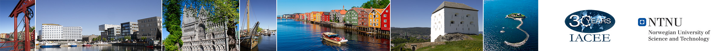 Images from Trondheim and organizer logos: IACEE and NTNU