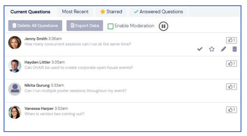 Screenshot of incoming questions in OnAIR Q & A